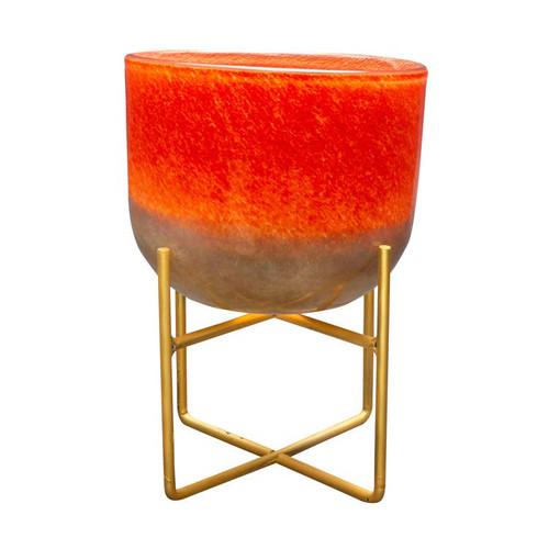 """9"""" Orange Gold Mid Century Hand Blown Art Glass Planter"""