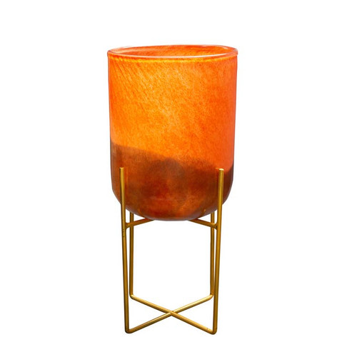 "8"" Orange Gold Mid Century Hand Blown Art Glass Planter"