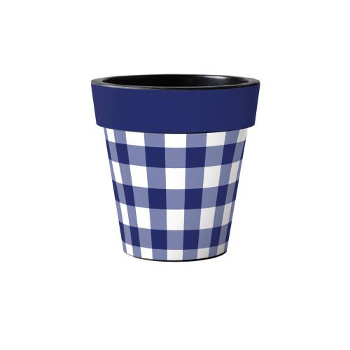 "Blue and White Check 12"" Art Planter  ~ Set of 2"