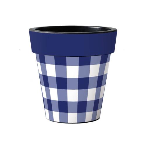 "Blue and White Check 15"" Art Planter  ~ Set of 2"