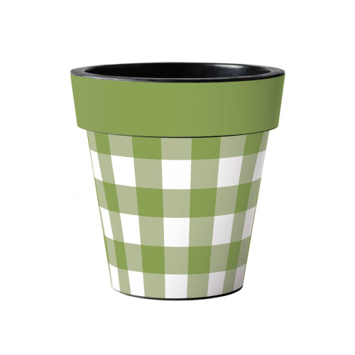 """Green and White Check 15"""" Art Planter  ~ Set of 2"""