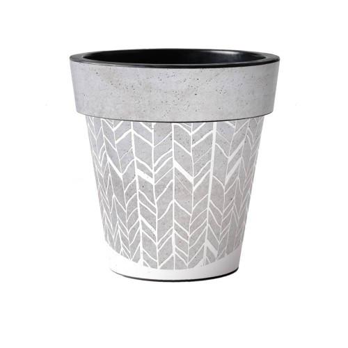 "Faux Concrete Herringbone 15"" Art Planter  ~ Set of 2"