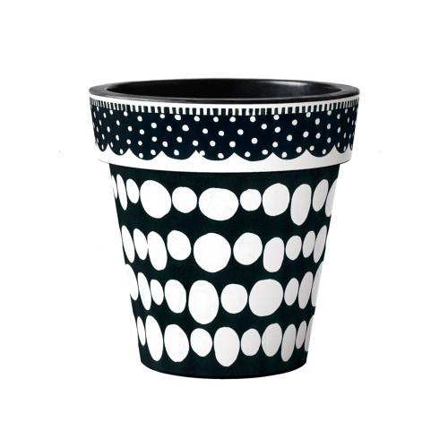 "Black and White Dots 15"" Art Planter  ~ Set of 2"
