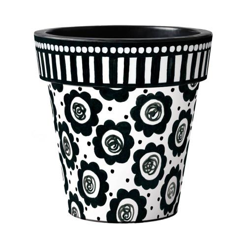"Black and White Flowers 18"" Art Planter  ~ Set of 2"