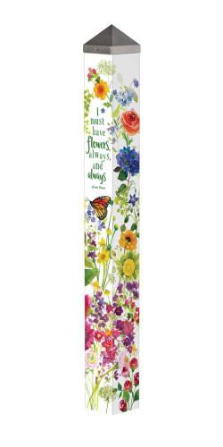 """Watercolor Flowers 40"""" Art Pole"""