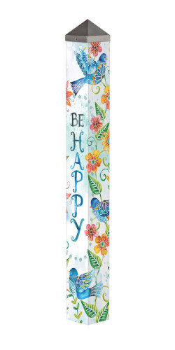 "Happy Bluebirds 40"" Art Pole"