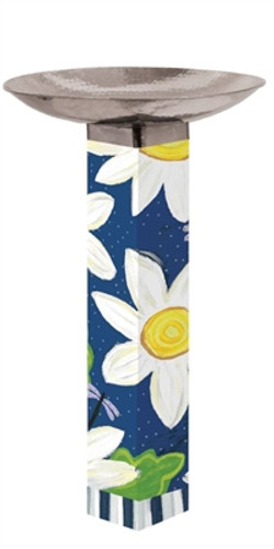 Daisy Blues Bird Bath Art Pole