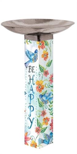 Happy Bluebirds Bird Bath Art Pole