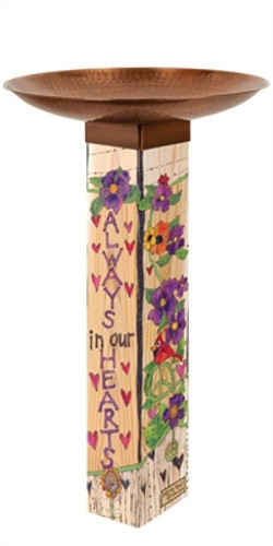 Our Hearts Remember Bird Bath Art Pole