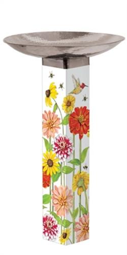 Birds and Bees Bird Bath Art Pole