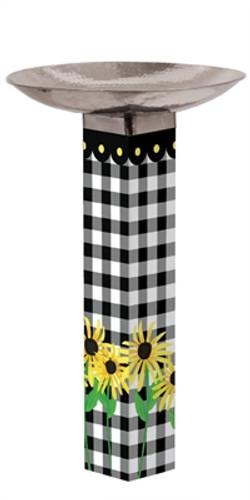 Checks and Yellow Daisies Bird Bath Art Pole