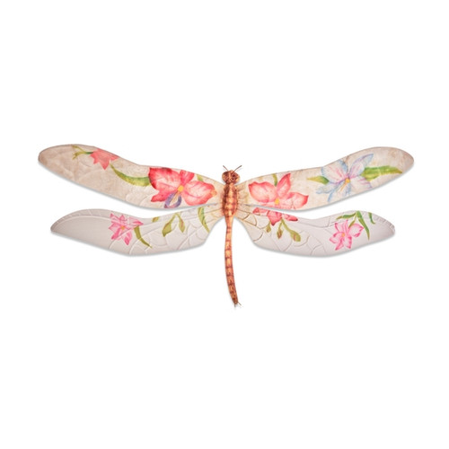 Dragonfly Wall Decor - Purple and Red Flowers