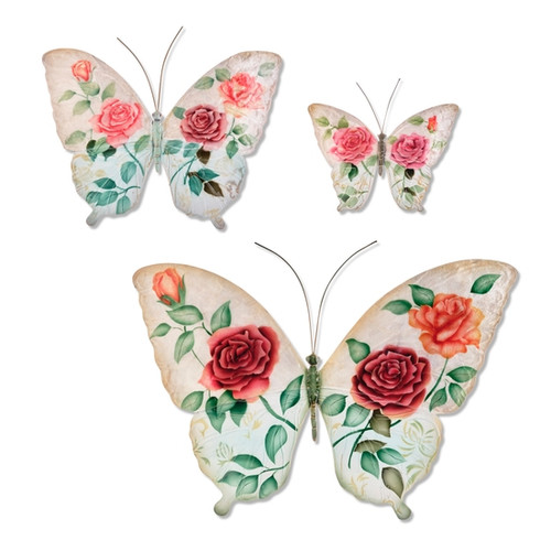 Butterfly Wall Decor -White and Pink Set of Three