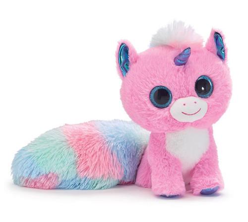 Pink Unicorn with Long Rainbow Tail Plush