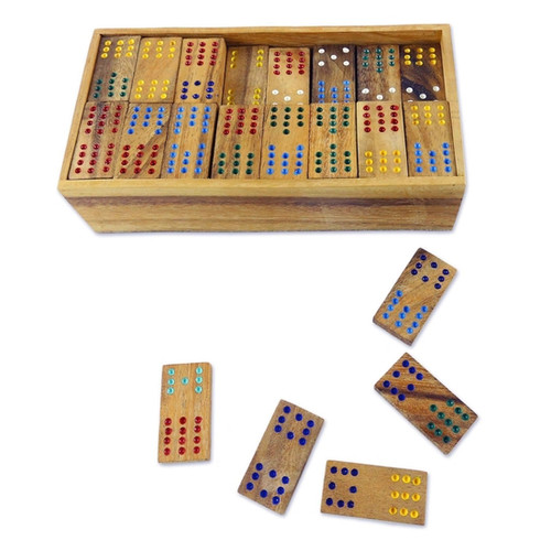 Colorful Dominoes Wood Domino Set
