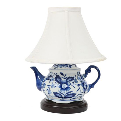 "11"" Blue & White Teapot Lamp"