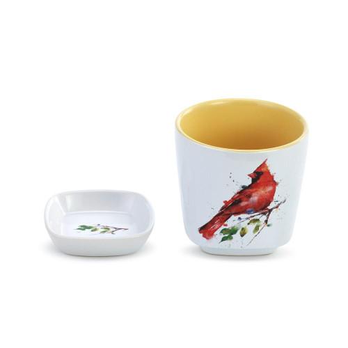 Spring Cardinal  Cup & Trinket Set By Dean Crouser