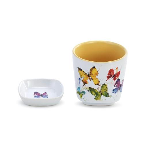 Flock of Butterflys Cup & Trinket Set By Dean Crouser