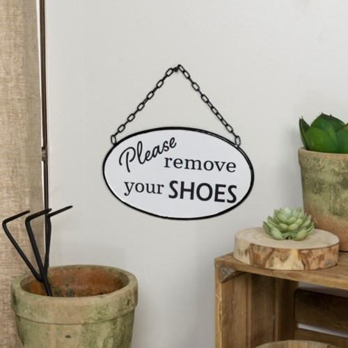 """Please remove your shoes""  Metal Sign"