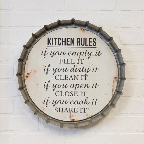 "16""  ""Kitchen Rules"" Metal Bottle Cap Sign"