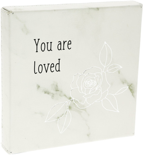 """Loved ~ 4.5"""" Faux Leather Plaque"""