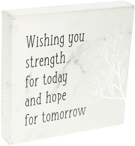 "Strength for Today~ 4.5"" Faux Leather Plaque"