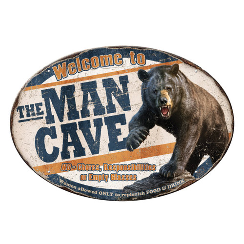 "12"" x 17"" Bear Man Cave Metal Sign"