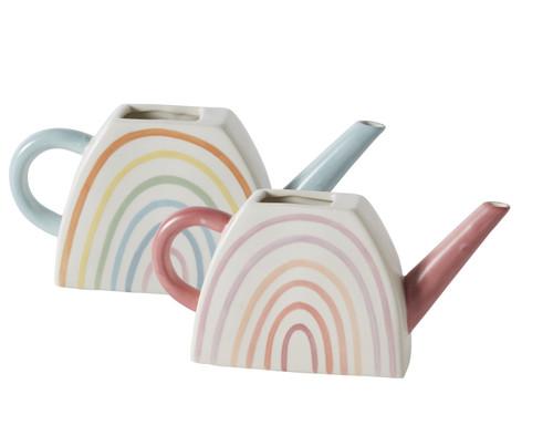 "9"" Rainbow Watering Can - Ceramic"