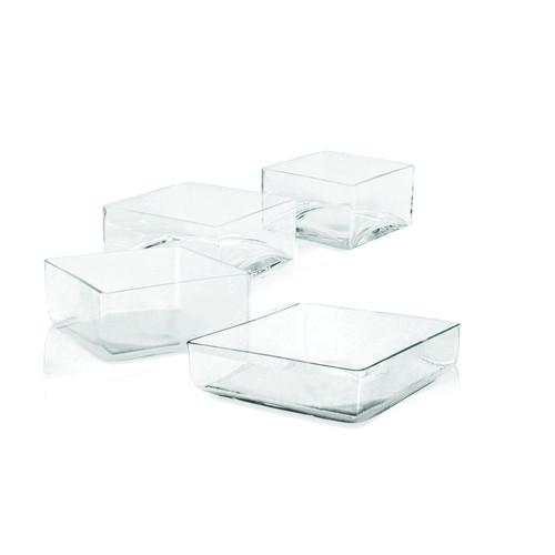 "10"" x 10"" Modern Proportion Square Glass Bowl- Glass"