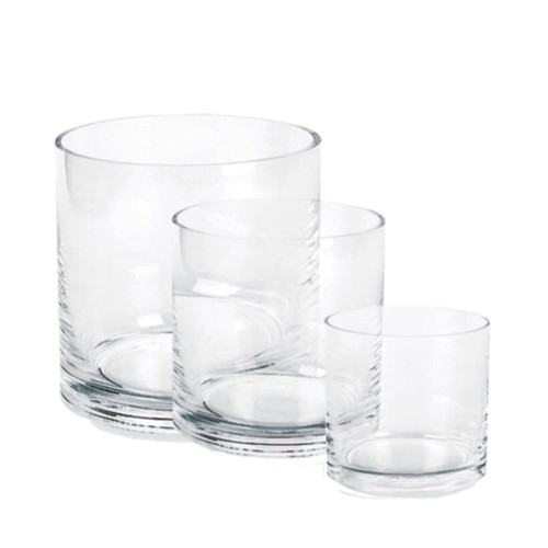 "6"" x 6"" Modern Proportion Round Glass Cylinder- Glass"