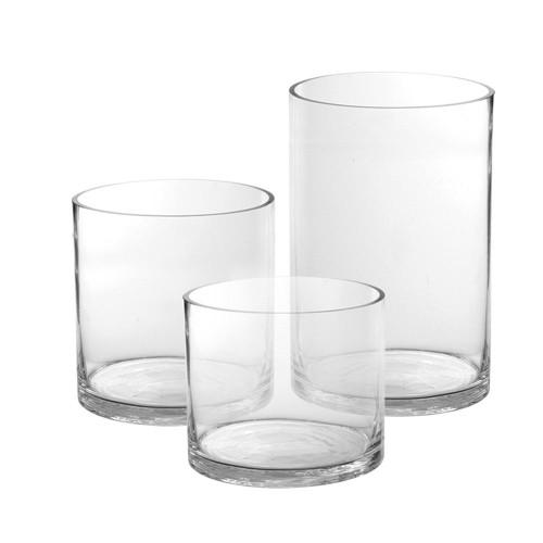 "9"" x 5"" Modern Proportion Round Glass Cylinder- Glass"