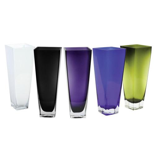 "25"" x 4"" x 4"" Taper Block Glass Cylinder- Glass- Violet"