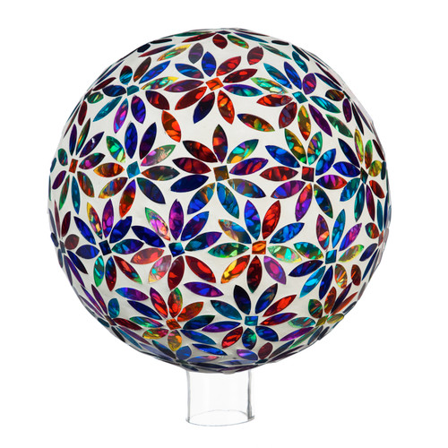 "10"" Mosaic Glass Gazing Ball, Multicolored Flowers by Evergreen"