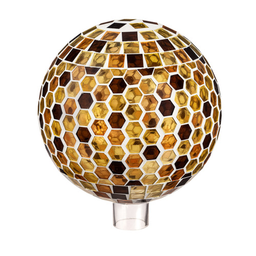 "10"" Mosaic Glass Gazing Ball, Honeycomb by Evergreen"