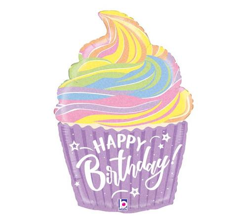 "27"" Pastel Rainbow Birthday Cupcake  ~ Super Shape Mylar Balloon"