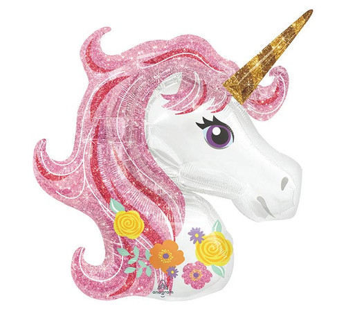 "33"" Pink Mane Magical Unicorn~ Super Shape Mylar Balloon"