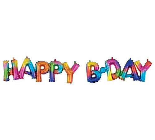 "56"" Happy BDay Rainbow Block Letters  ~ Super Shape Mylar Balloon"