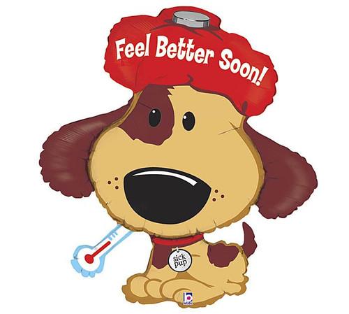 "37"" Feel Better Sick Puppy~ Super Shape Mylar Balloon"