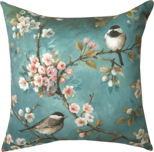 "18"" Bird and Blossom Throw Pillow"