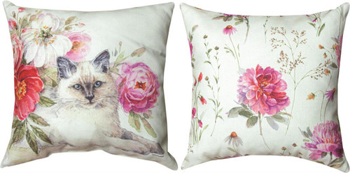 """18"""" Obviously Pink Cat  ~  Outdoor Climaweave Throw Pillow"""