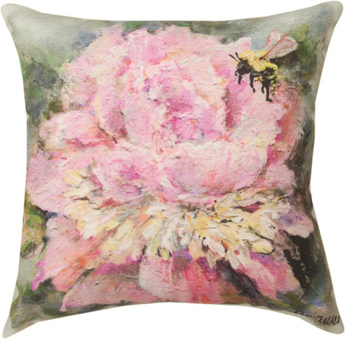 """18"""" Peony  ~  Outdoor Climaweave Throw Pillow"""