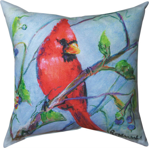 """18"""" Spring Cardinals with Blueberries ~  Outdoor Climaweave Throw Pillow"""