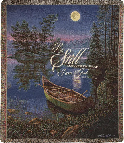 Moonlight Bay With Verse Tapistry Throw Blanket