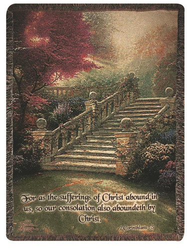 Stairway to Paradise with Verse Tapistry Throw Blanket