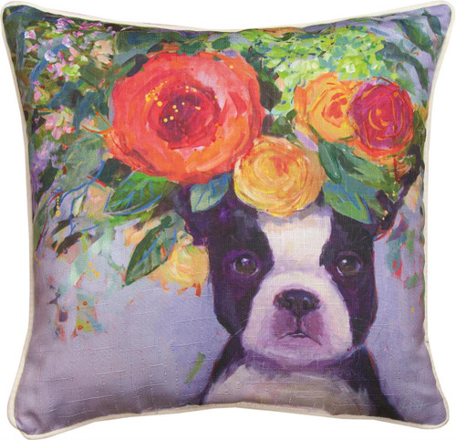 """18"""" Dogs In Bloom Boston Terrier ~  Outdoor Climaweave Throw Pillow"""