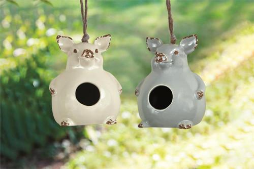 Ceramic Pig Birdhouses ~ Set of 2