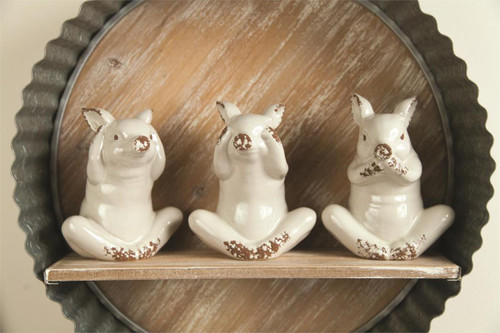 Hear, See & Say No Evil Piggie Ceramic Set of 3