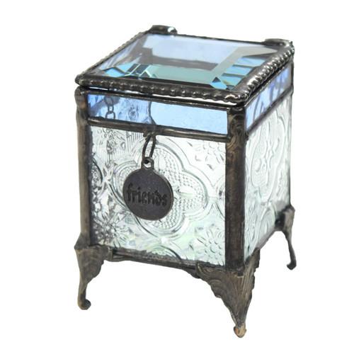 Keepsake Box with Friend Charm Blue Stained Glass Trinket Box Gift