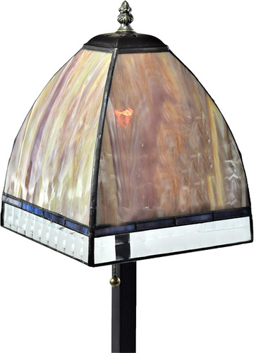 Rust Opal Art Glass Table Lamp with Curved Shade by J Devlin Glass