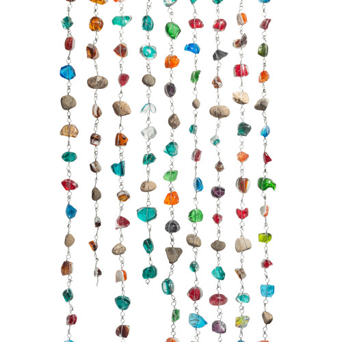 Recycled Art Glass & Rock Rain Chain